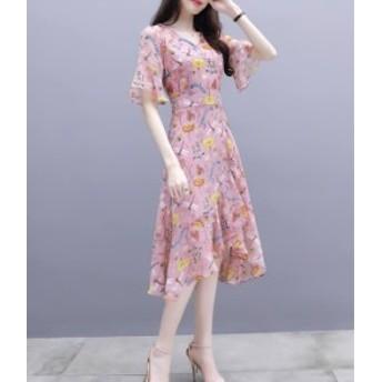シフォン ワンピース 花柄 ピンク ブルー フリル ひざ丈 夏物 秋物 最新 レディース ファッション 5月新作 人気 可愛い 大人