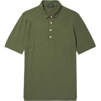 《セール開催中》ZANONE メンズ ポロシャツ グリーン 46 コットン 100%