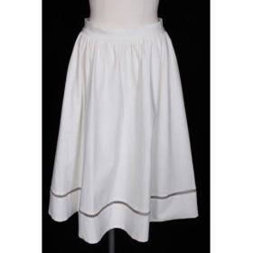 フォクシーニューヨーク FOXEY NEW YORK コレクション collection 17SS Jersey Suiting Fagotting スカート ひざ丈 ギャザー ストレッチ 38 白 ホワイト 36653