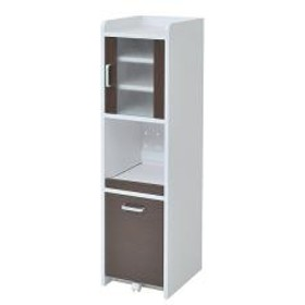 スリムラック 食器棚 すき間収納 高さ120cm 扉付き ダークブラウン