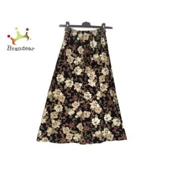 インゲボルグ INGEBORG ロングスカート レディース 美品 黒×マルチ 花柄 スペシャル特価 20190826