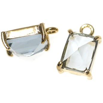 再販【2個入り】チャコールグレーカラープチ長方形Glassゴールドチャーム、ペンダント