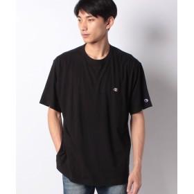 マルカワ 大きいサイズ メンズ チャンピオン 半袖 Tシャツ ワンポイント 刺繍 ブランド メンズ ブラック 4L 【MARUKAWA】