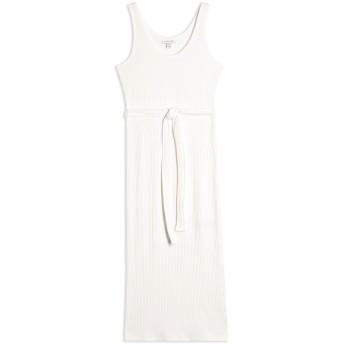《9/20まで! 限定セール開催中》TOPSHOP レディース 7分丈ワンピース・ドレス ホワイト 10 ポリエステル 70% / レーヨン 28% / ポリウレタン 2% RIB BELTED COLUMN DRESS