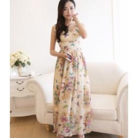 マキシ丈 ワンピース シフォン 花柄 ドレス お呼ばれ  秋物 冬物 最新 レディース ファッション2019 人気 可愛い 大人