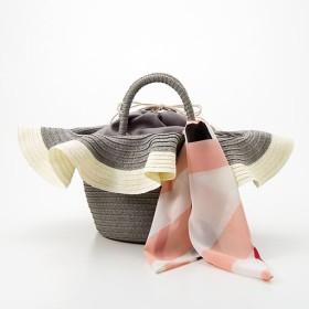 30%OFFスカーフ付き帽子風カゴバッグ ■カラー:グレー