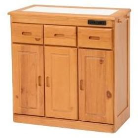 キッチンカウンター 天然木 タイル天板 キャスター付 幅69cm ナチュラル