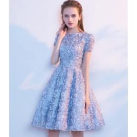 膝丈 ドレス ワンピース パーティー 結婚式 レディース 大きいサイズ 袖あり 花 Aライン ハイウエスト 無地
