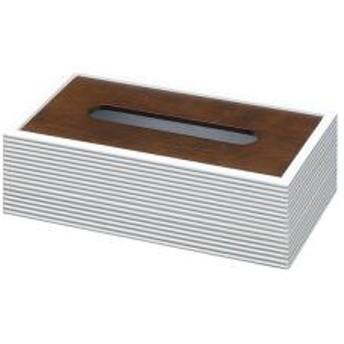 ティッシュケース ティッシュボックス 木製 ライン ホワイト 【5%OFFクーポン利用可能】【コード:CP34TSW】
