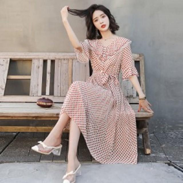 フォン水玉模様のドレス長い段落フランスの小さな外國のスカート