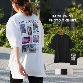 SUPERSALE限定price!♪ 【送料無料】バックプリントフォトTシャツレディース トップス tシャツ プリント フォト ゆったり 半袖