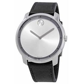 【当店1年保証】モバードMovado Bold Silver Dial Mens Black Leather Watch 3600468