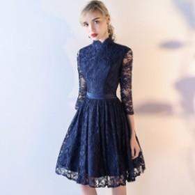 ミニ ワンピース ドレス パーティー 結婚式 レディース 大きいサイズ 袖あり 花 透け 総レース フレア 無地