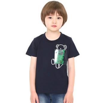 【グラニフ:トップス】キッズTシャツ クリアポケットショートスリーブティー(エックスレイコントロールベア)
