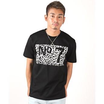ラグスタイル 豹柄ナンバープリント半袖Tシャツ/Tシャツ メンズ プリント 豹柄 英字 メンズ ブラック XL 【LUXSTYLE】