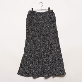 スタイルブロック STYLEBLOCK ポプリン花柄ランダムプリーツスカート (ブラック)