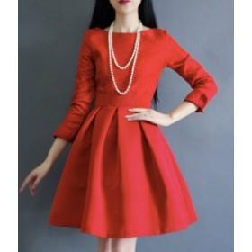 ワンピース ショート丈 赤 黒 aライン ドレス きれいめ 秋物 冬物 最新 レディース ファッション2020 人気 可愛い 大人