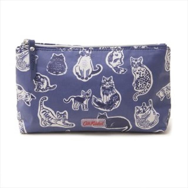 キャスキッドソン バッグ ポーチ CATH KIDSTON MATT ZIP MAKE UP BAG 813310  NAVY SQUIGGLE CATS    比較対照価格3024円