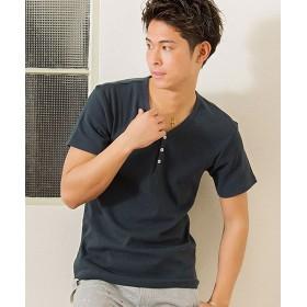 シルバーバレット CavariAネックが選べるスパンテレコ半袖Tシャツ メンズ ネイビー系2 46(L) 【SILVER BULLET】