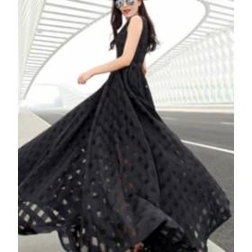マキシ丈 ワンピース ドレス 黒 ノースリーブ エレガント 春物 夏物 最新 レディース ファッション2019 人気 可愛い 大人