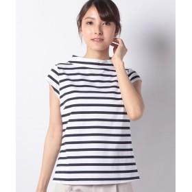 マダム ジョコンダ ロールカラーTシャツ/コットン天竺ボーダー レディース ホワイト 38 【MADAM JOCONDE】