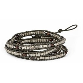SPUNKYsoulSPUNKYsoul Handmade Leather Grey Boho 4 Wrap Bracelet Silver and Faceted Beads for Women Collection