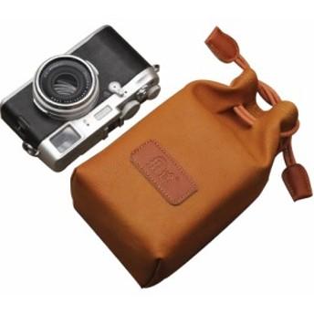 カメラポーチ 巾着型 合皮製 カメラケース ミラーレス レンズポーチ デジカメ 耐衝撃 (ブラウンMサイズ/A00976)