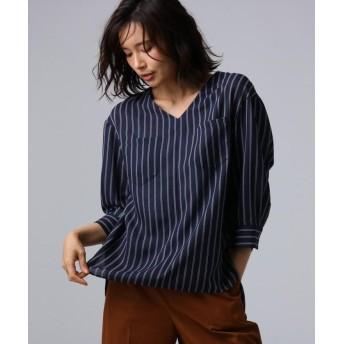 【70%OFF】 アンタイトル クルーズストライプダブルポケットシャツ レディース ネイビー(193) 99(SSS) 【UNTITLED】 【セール開催中】
