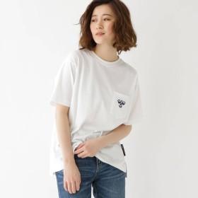 BASE CONTROL LADYS(ベースステーション:レディース)/【WEB限定】  コラボ 別注  hummel 胸ポケットグラフィック バックロゴ Tシャツ