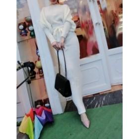 ワンピース マキシ タイト 白 リボン ドルマン きれいめ 夏物 秋物 最新 レディース ファッション2019 人気 可愛い 大人