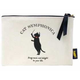 CAT SYMPHONICA(キャットシンフォニカ) キャンバスポーチ フラット CSマーク ブラック 6018