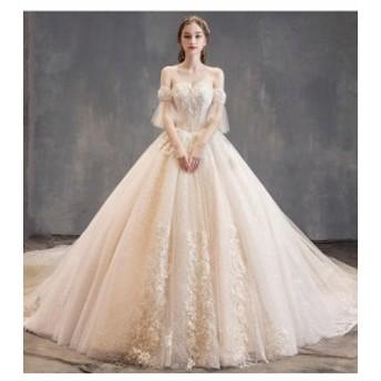豪華刺繍 ウェディングドレス 150cmトレーン チュールスカート 1着2way アイボリー 結婚式 披露宴 グローブ ベール付 オーダーサイズ可
