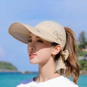 ハット  帽子 サンバイザー 紫外線対策 UV対策 日焼け 日除け 持ち歩く 女性 リボン結び 防風 刺繍 プリント