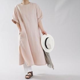 【wafu】リネン ワンピース スリット Tシャツ ファスナー / ミスティーローズ【free】a087a-mrs2