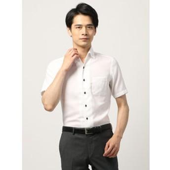 【THE SUIT COMPANY:トップス】【半袖・ICE COTTON】ワンピースカラードレスシャツ 織柄 〔EC・FIT〕