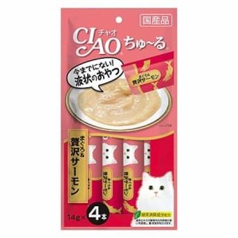 いなば CIAO(チャオ) ちゅ~る まぐろ&贅沢サーモン 14g×4本【ちゅーる】
