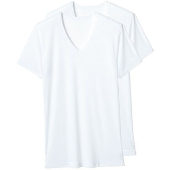 【メンズ】 吸汗・速乾 半袖V首(2枚組) - セシール ■カラー:ホワイト ■サイズ:5L,LL,S,M,3L,L