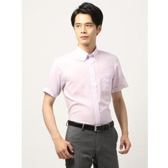 【THE SUIT COMPANY:トップス】【半袖・ICE COTTON】ボタンダウンカラードレスシャツ 織柄 〔EC・BASIC〕