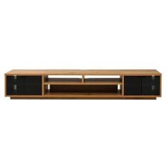 テレビ台 ローボード 組み合わせ収納 ガラス扉×2 幅180cm ナチュラル