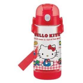 水筒 子供 ハローキティ ギンガムチェック 直飲み ワンプッシュボトル プラスチック製 480ml