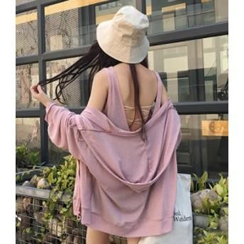 セットアップ フードパーカー ピンク 帽子つき ワンピース 夏物 秋物 最新 レディース ファッション2019 人気 可愛い 大人