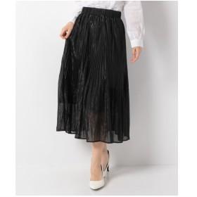 Melan Cleuge シフォンラメプリーツスカート(ブラック)【返品不可商品】