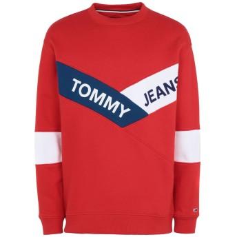 《期間限定セール開催中!》TOMMY JEANS メンズ スウェットシャツ レッド M コットン 100% TJM CHEVRON CREW