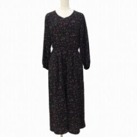 【中古】ショコラフィネローブ chocol raffine robe ワンピース ロング Vネック 長袖 花柄 F 黒 ブラック MCK レディース