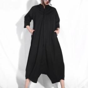 オールインワン サロペット レディース 大きいサイズ 袖あり ワイドパンツ ゆったり つなぎ カジュアル 黒