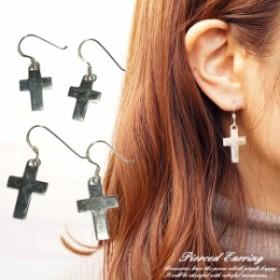 シルバーピアス シルバー925 レディースピアス クロス 十字架 大小 プレート フックピアス