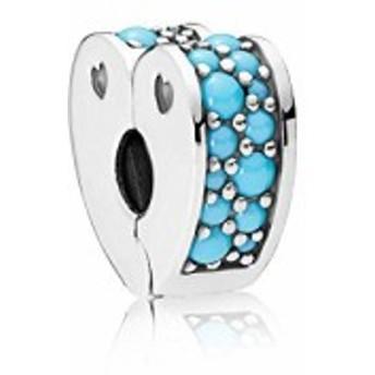 パンドラPandora Arcs Of Love Clip Turquoise Blue One Size Charm 797227NYA
