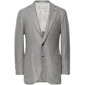 《期間限定セール開催中!》P.JOHNSON メンズ テーラードジャケット ライトグレー 50 カシミヤ 100%