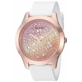 【当店1年保証】ゲスWomen's Rose Gold-Tone and White Silicone Watch Embellished with Crystals from