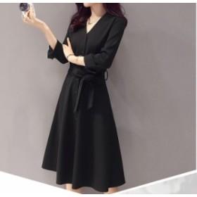 ワンピース ひざ丈 aライン シンプル 黒 長袖 リボン 秋物 冬物 最新 レディース ファッション2020 人気 可愛い 大人